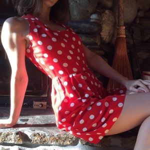 Vintage Pants - Vintage Minnie Mouse Polka Dot Pin Up Romper Red